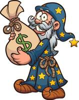 Wizard with bag of money vector