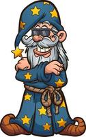 Cool cartoon wizard vector
