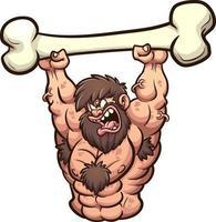 Strong angry caveman vector