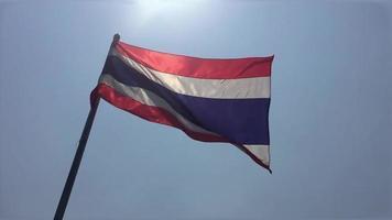 bandera de tailandia moviéndose con el viento video