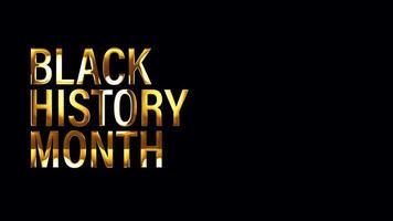 boucle d'effet de lumière de texte d'or du mois de l'histoire des noirs video
