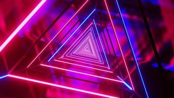 vuelo en túnel triangular de neón láser colorido futurista