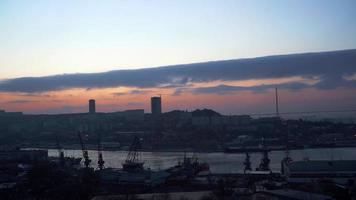 Timelapse of The City Landscape at Dawn. Vladivostok, Russia