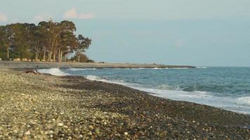 paisaje marino con olas rompiendo en la orilla video