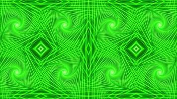 kaleidoskopische abstrakte Musterschleifenanimation mit grünem Licht