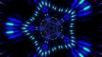 Blue pink neon glowing star rays exploding loop