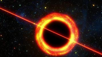 Space exploration flight fly by supermassive black hole video