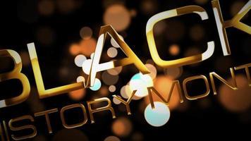 história negra mês ouro bokeh título cinematográfico 3d