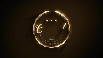 insignia certificada de calidad con animación de textura dorada