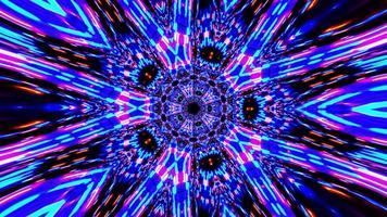 transformación geométrica multicolor fantasía mandala rayos de neón ornamento