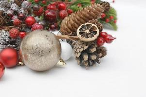 Christmas baubles with gold decorations