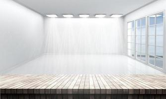 3D wooden table looking out to a white empty room