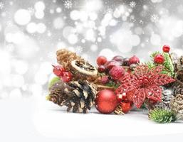 Christmas background with bokeh lights and decorations
