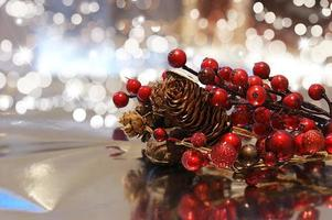Christmas background with baubles and decorations