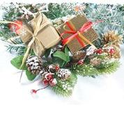 Christmas gifts and decorations with snow