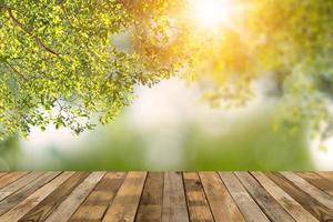 plataforma de madera con fondo de naturaleza bokeh foto