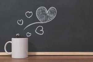 Coffee mug and heart doodles
