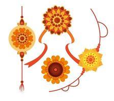 set of rakhi, raksha bandhan, hindu celebration india festival culture tradition vector