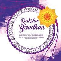 tarjeta de felicitación con rakhi decorativo para raksha bandhan vector