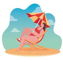 cute woman in a swimsuit sitting on the beach, summer vacation season vector