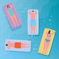 People floating on a pool vector