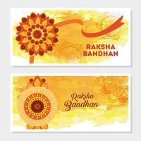 conjunto de tarjetas de felicitación para la celebración de raksha bandhan vector