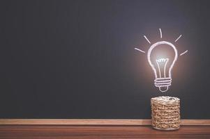 Plant pot and light bulb doodle photo