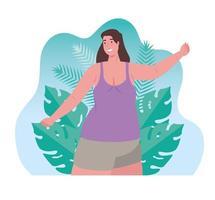 cute woman with tropical leaves scene, summer season vector