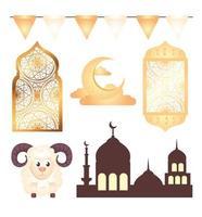 Eid al adha mubarak decoration icon collection vector