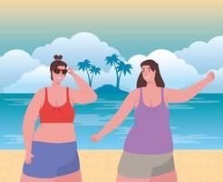 Linda mujer en trajes de baño en la playa, temporada de vacaciones de verano