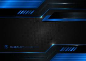 Abstract technology geometric blue and black color shiny motion background. vector