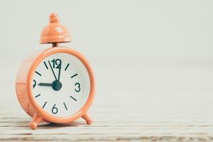 Classic Alarm clock on wooden desk