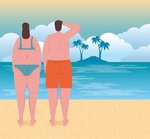 young couple on the beach, summer vacation season vector