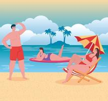 People at the beach, summer vacations and tourism concept vector