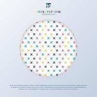 Abstract cross pattern colorful on white background with circle frame. Geometric memphis plus signs. vector