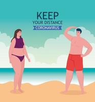 social distancing at the beach banner vector