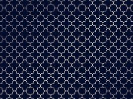 Abstract silver moroccan pattern on blue background. vector