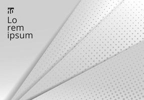 Plantilla abstracta triángulos geométricos blancos y grises sobre fondo blanco estilo de corte de papel con textura de semitono.