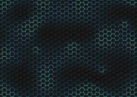 Patrón hexagonal negro abstracto de textura futurista con concepto de tecnología de rayos de luz azul.