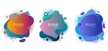 Set of abstract modern fluid shapes color badges graphic elements on white background. vector