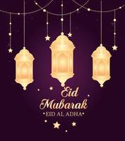 Eid al adha mubarak celebration with lanterns hanging vector