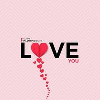 Happy valentines day greeting banner in papercut realistic style vector