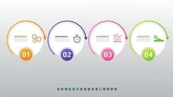 Plantilla de infografías de línea de tiempo empresarial con 4 opciones sobre fondo gris. vector