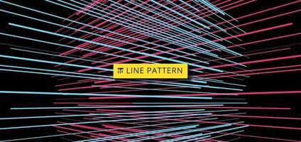 Resumen perspectiva de patrón de líneas de velocidad horizontal azul y rosa sobre fondo negro vector