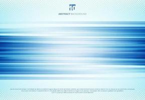 Abstract blue horizontal lines motion blur background technology style with halftone. Speed sport motion. vector