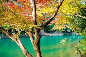 Beautiful Arashiyama river at Kyoto, Japan