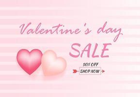Feliz día de San Valentín tarjeta de felicitación con globos en forma de corazón. estilo de arte de papel. vector