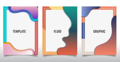 Set of template design of modern cover brochure abstract liquid flowing shapes elements on white background. vector