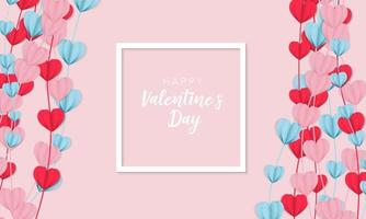 Valentines day banner background in papercut realistic style vector