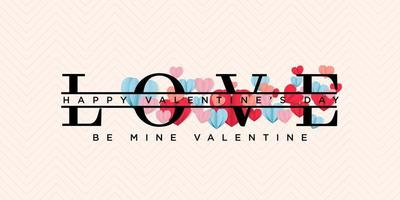 Be mine happy valentines day greeting post in papercut realistic style vector